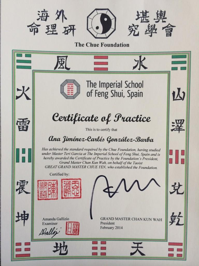Certificado Escuela Chue La escuela de la Forma