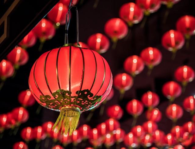 Farolillo rojo para la celebración del comienzo de la primavera