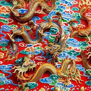 Dragones festoneados Shangri La Feng Shui